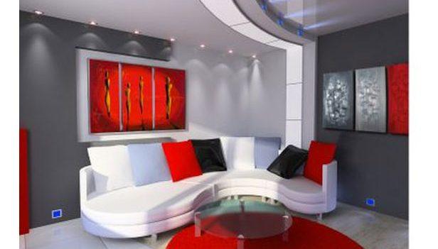 Rosso abbinato a meraviglia in questo salone moderno