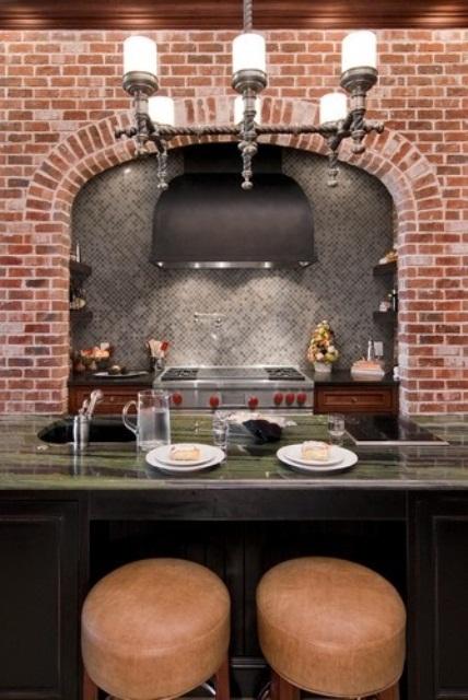 Parete mattoni a vista cucina 69 cucine con paretI di mattoni