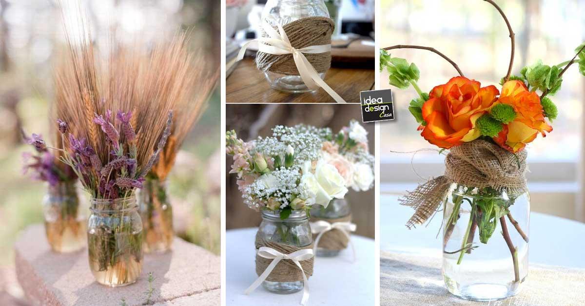 Vasetti di fiori creativi con barattoli di vetro riciclati