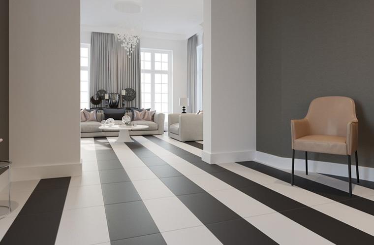 Pavimenti bianchi e neri in soggiorno 15 idee a cui