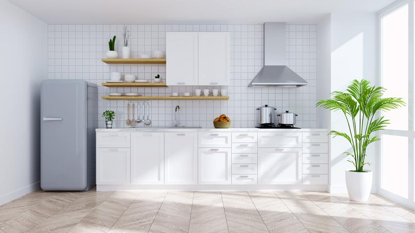 Rivestimenti Cucina Moderna Bianca E Grigia