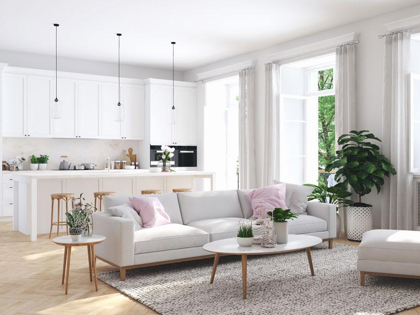 Del tutto nuovo a questa zona living con cucina a vista grazie al colore e, senza saperlo,. Open Space 40 Idee Per Arredare Cucina E Soggiorno In Un Unico Ambiente
