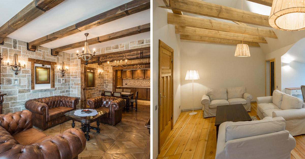 Ambiente di 40 mq diviso tra zona pranzo, parete tv e salotto con divano letto angolare. Le Travi In Legno A Vista In Salotto 8 Ispirazioni Da Sogno