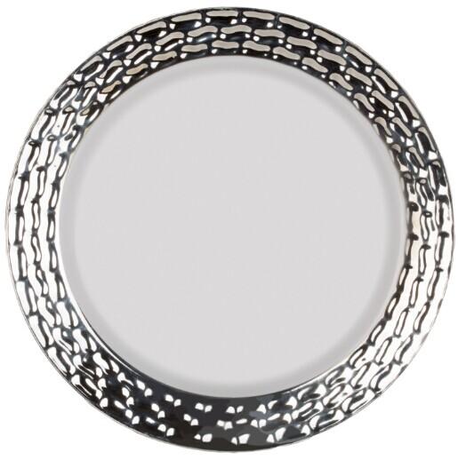"EaMaSy Party 10.25"" Marbella Dinnerware White Silver"