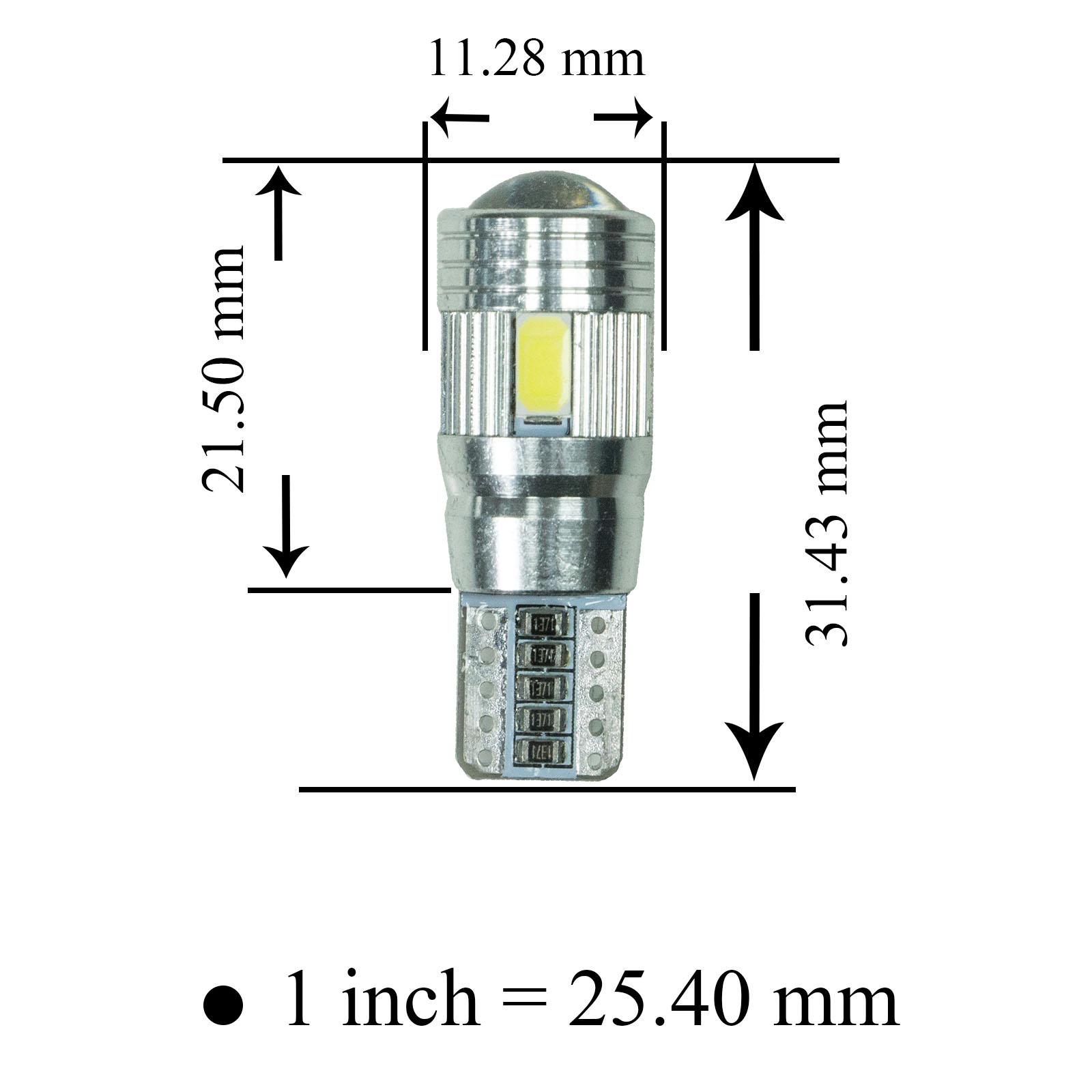 T10 Led Tail Light 6 Smd 12v White Sidelight Turn
