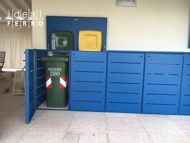 armadio per linserimento dei contenitori rifiuti