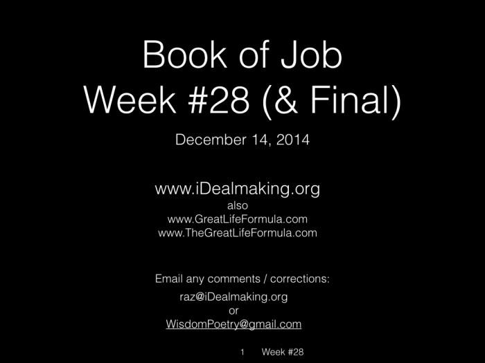 Book of Job, Raz, Week #28.001