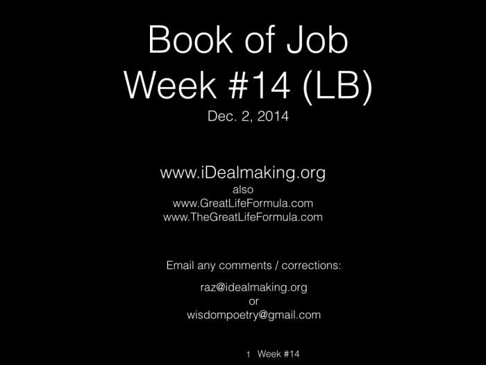 Book of Job, Week #14 LB.001