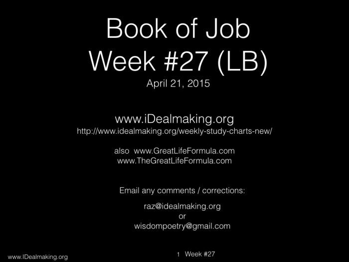 Book of Job, Week #27 LB.001