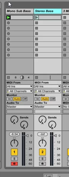 Ableton screenshot mono and stereo bass