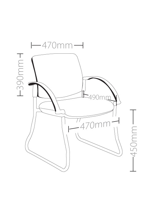 Style Maxi Sled Base Visitor Chair With Arms  Ideal Furniture