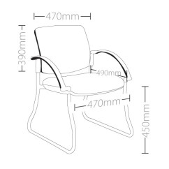 Office Chair Qld Clearance Outdoor Cushions Style Maxi Sled Base Visitor With Arms - Ideal Furniture
