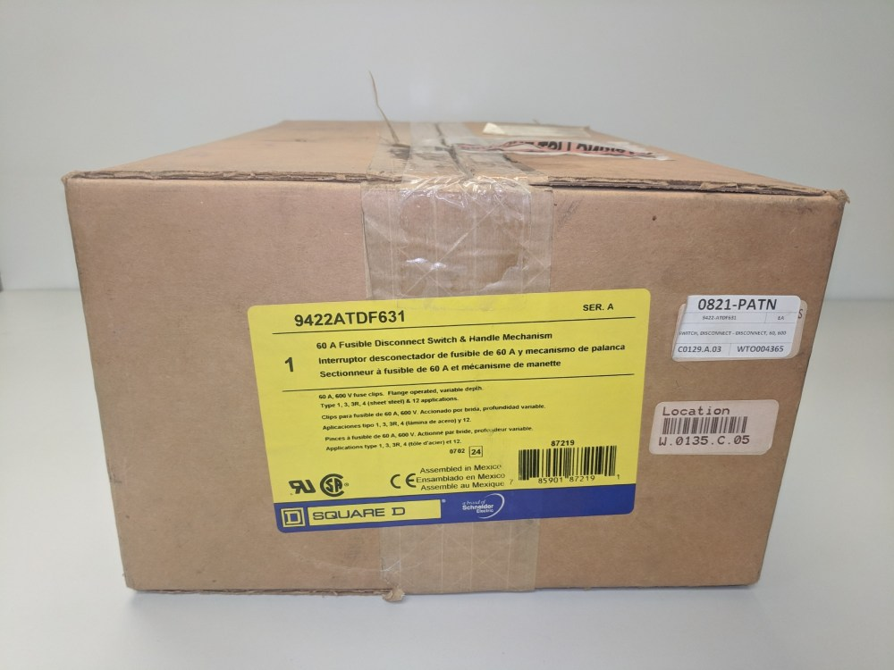 medium resolution of square d 9422atdf631 60 amp 600vac fusible disconnect switch and handle mechanism new in box