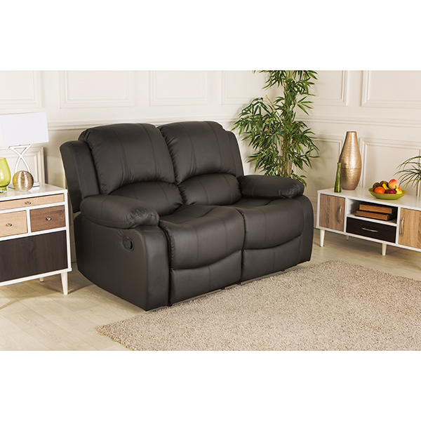 sofa world recliner chairs double futon bed chicago bonded leather two seater 427620 ideal black