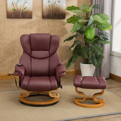 Black Bonded Leather Chair Kevi Desk Milano Swivel Recliner With Heat, Massage And Stool (437427) | Ideal World