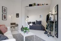 Outstanding One Room Apartment Decoration in Bright White ...