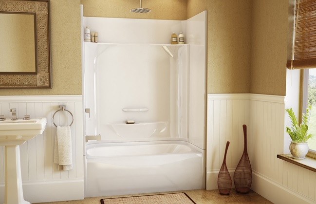 One Piece Shower Units with Seat Shelves and Tub  Ideas 4 Homes
