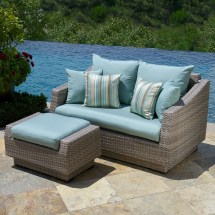 Blue Wicker Patio Furniture with Cushions