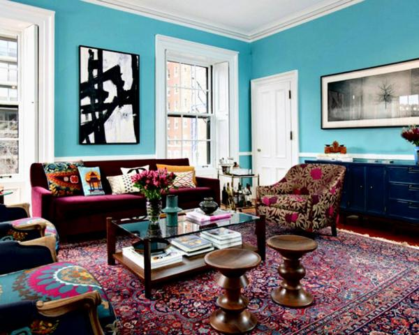 Turquoise and Burgundy Living Room Ideas