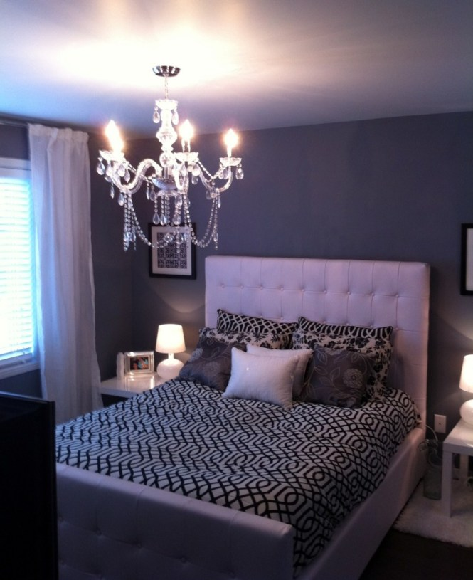 Pretty Accent Wall Colors With Small Crystal Chandelier To Adorn Bedroom