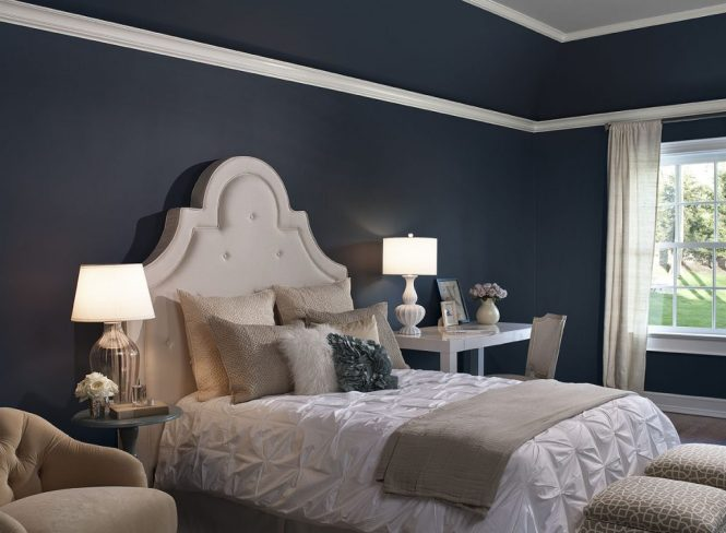 Updated Bedroom In Dark Blue Wall And White Accent To Balance The Bright Color Saveemail Design Ideas Gray Colors Scheme