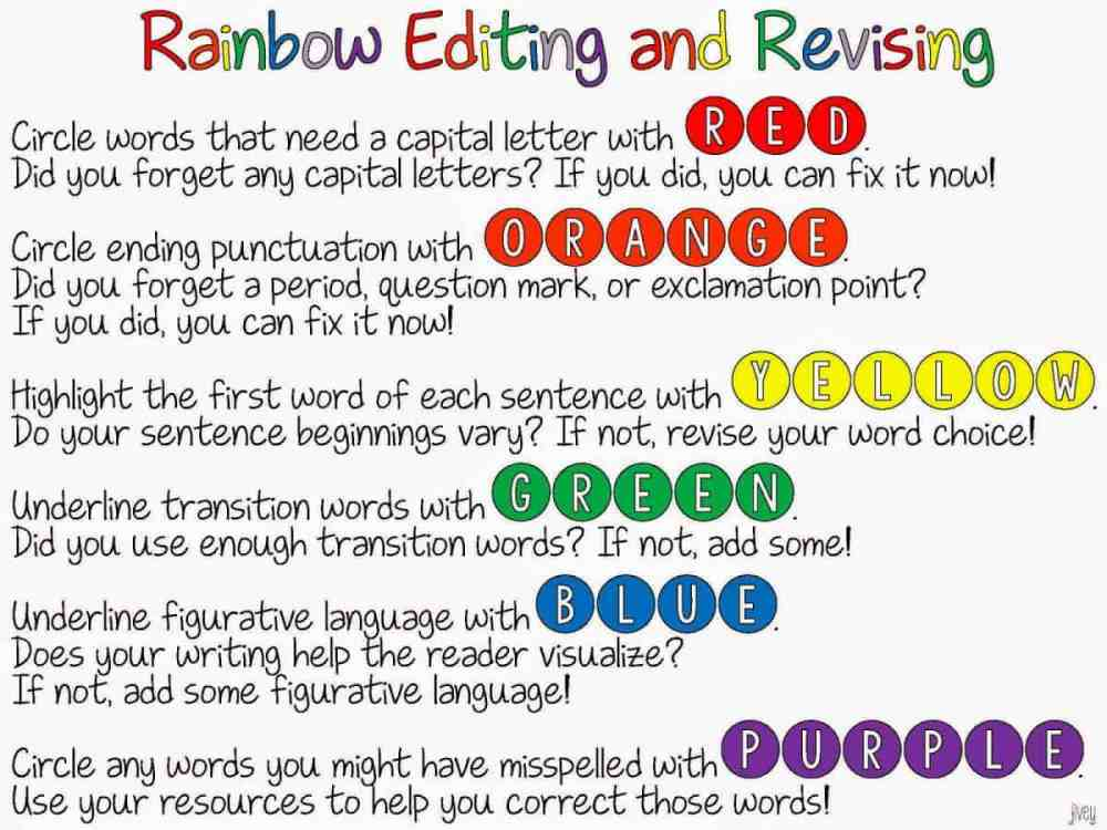 medium resolution of Rainbow Editing and Revising {FREEBIE!}   Ideas by Jivey