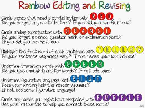 small resolution of Rainbow Editing and Revising {FREEBIE!}   Ideas by Jivey
