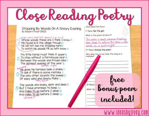 small resolution of Close Read Poetry: BONUS LESSON!   Ideas by Jivey