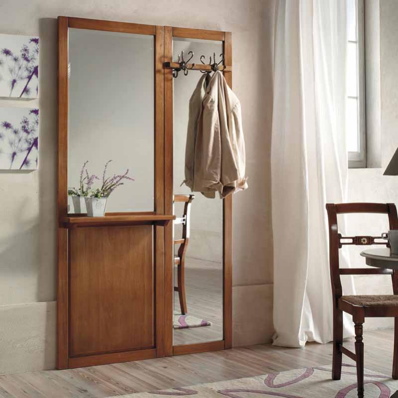 Classici mobili da ingresso in legno con specchi e appendiabiti. Mobile Da Ingresso Con Specchio T25