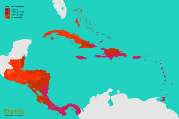 central-america-caribbean-plant-hardiness-zones-map