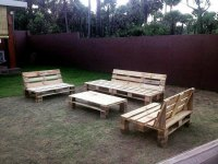 DIY Shipping Pallet Garden Seating Set | Ideas with Pallets