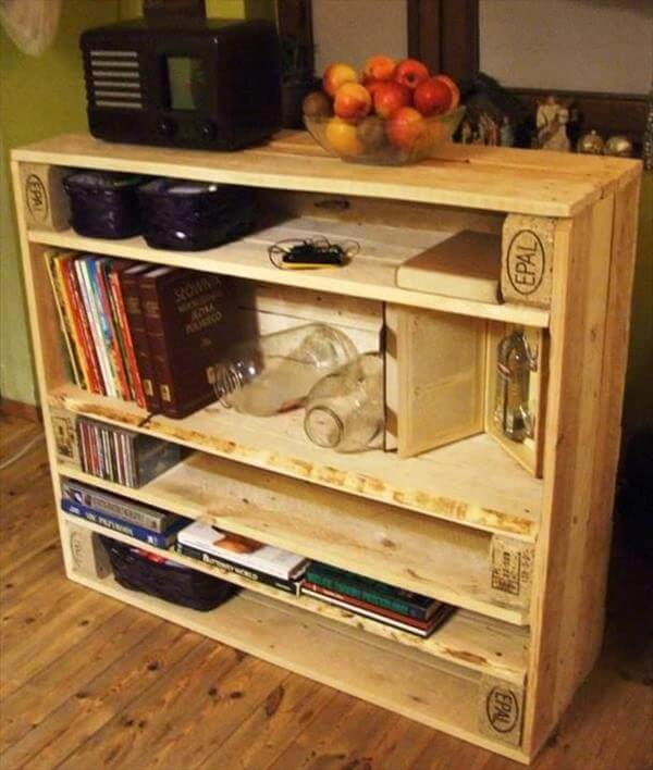 DIY Reprocessed Pallet Storage Shelves  Ideas with Pallets