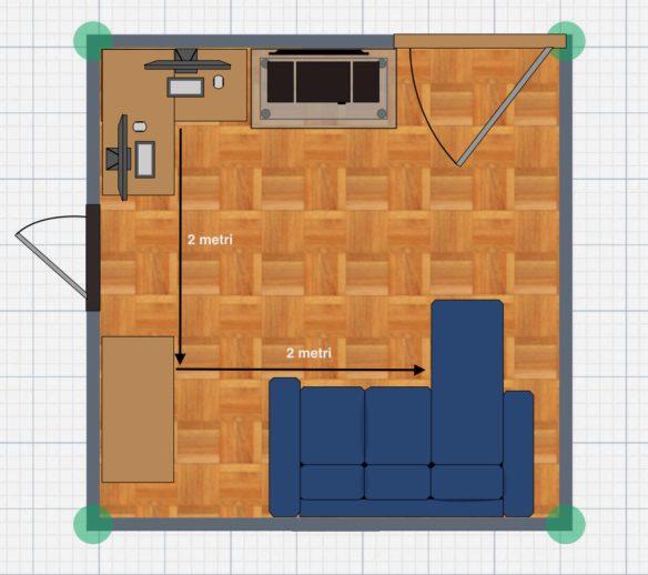 mappa della stanza con 4 sensori