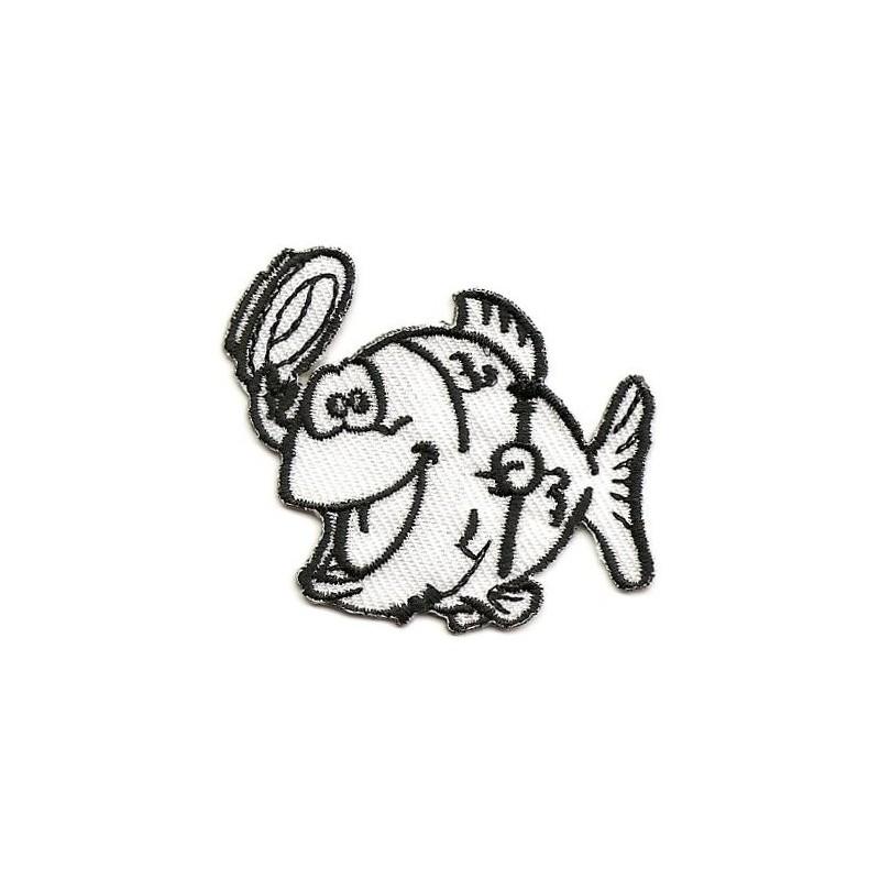 écusson poisson noir et blanc thermocollant