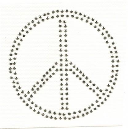 transfert en strass peace argenté à thermocoller 10cm