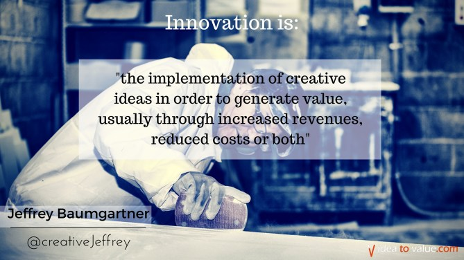 is the implementation of creative ideas in order to generate value, usually through increased revenues, reduced costs or both