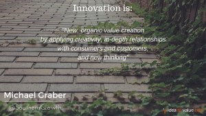 New, organic value creation by applying creativity, in-depth relationships with consumers and customers, and new thinking.