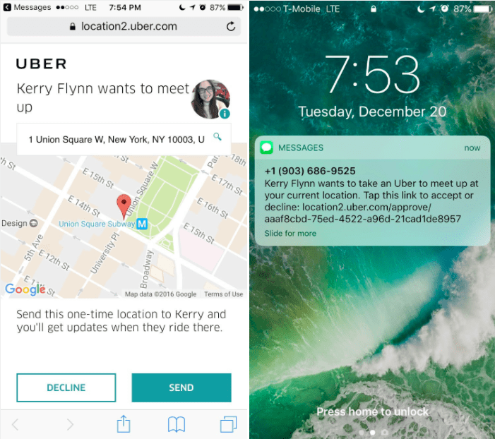 """Uber's new """"Person as a destination"""" feature in action"""