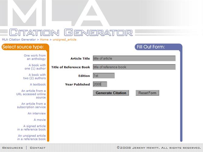 mla citation machine for an essay