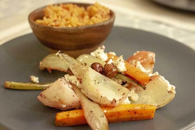 Légumes d'hiver rôtis à la feta