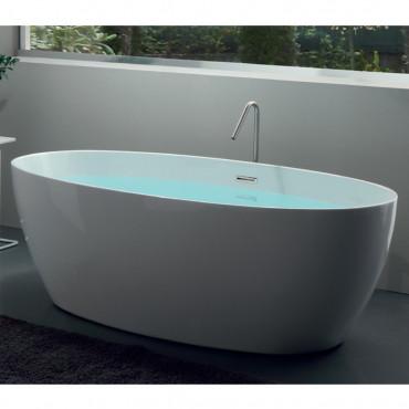 baignoire ilot sur pied ovale en acrylique pour salle de bain silene 170