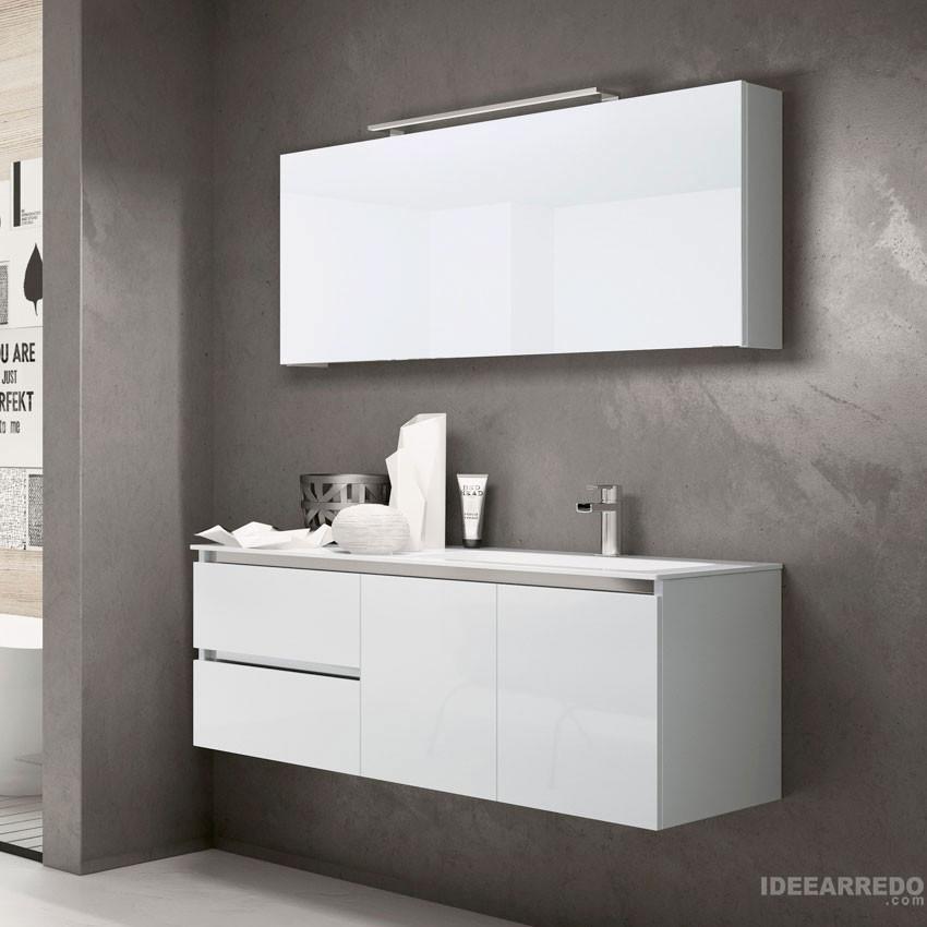 meuble salle de bain 120 cm moderne blanc swing bmt