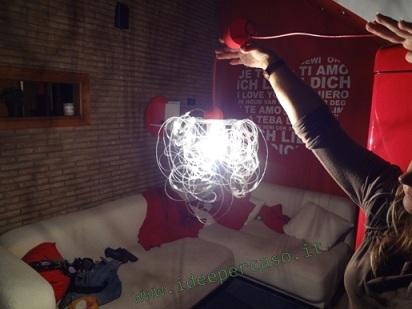 Lampadario Filo Di Ferro Fai Da Te : Fare un lampadario con le bottiglie di plastica www.ideepercaso.it
