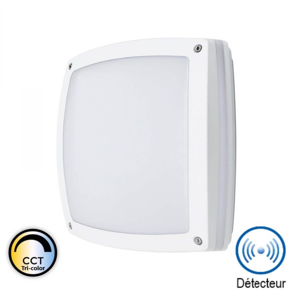 MADRID - Hublot applique LED carré détecteur blanc 24W CCT