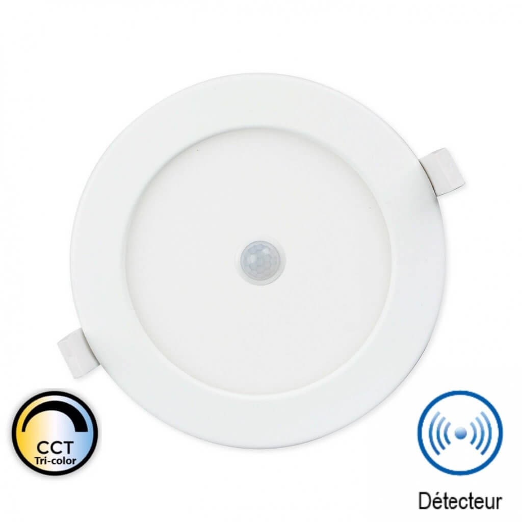 CANNES - Plafonnier encastrable avec détecteur 18W IP44 CCT Tri-color Ø205mm