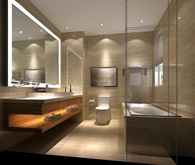 downlight spot led encastré au plafond d'une salle de bain moderne