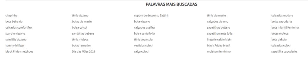 Palavras mais buscados Zattini