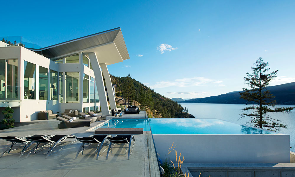Fall Ceiling Wallpaper Design Okanagan Lake Waterfront Home With Minimalist Elegant