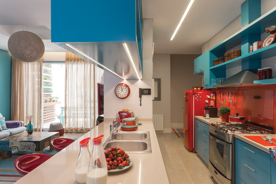 Vibrant Kitchen Design With Azure Blue And Red Orange Theme  iDesignArch  Interior Design
