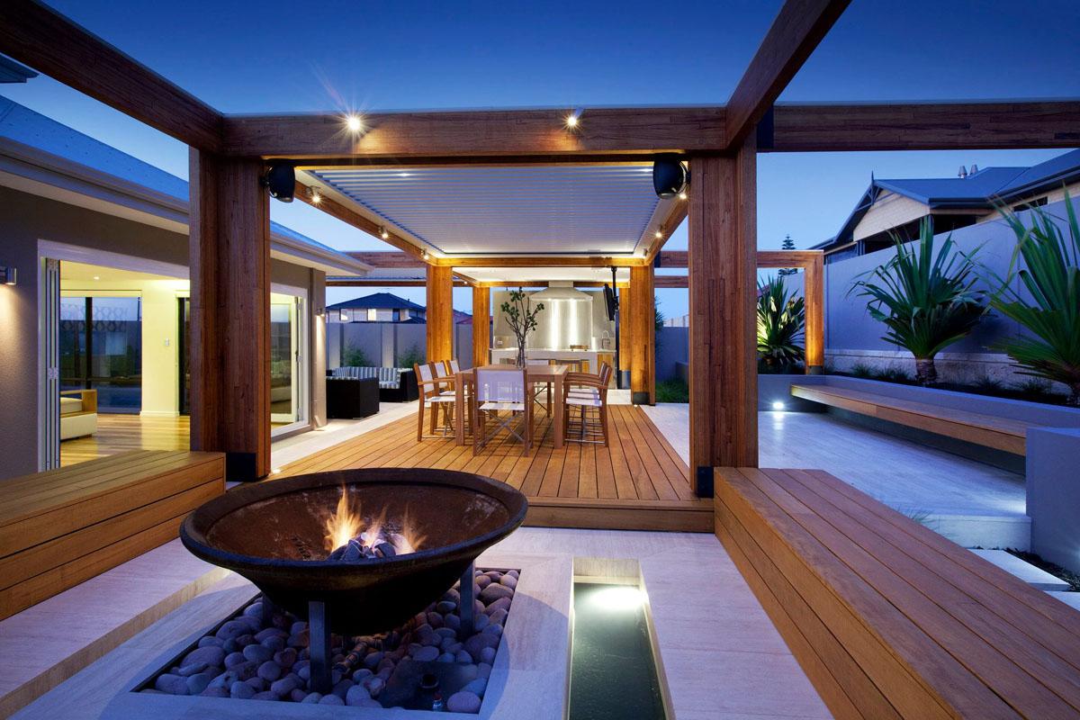 Stylish Backyard With Teak Decking  iDesignArch  Interior Design Architecture  Interior